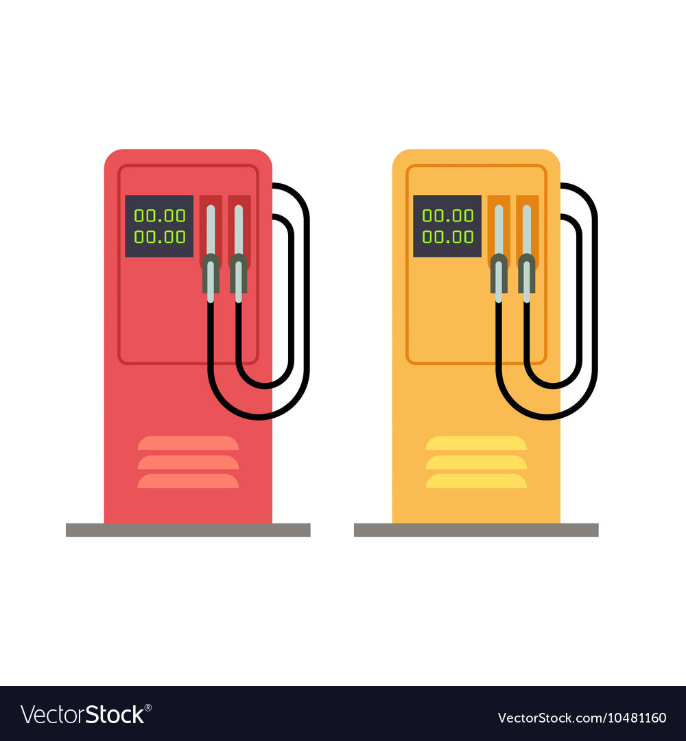 Gas station pump with gasoline petrol flat vector image