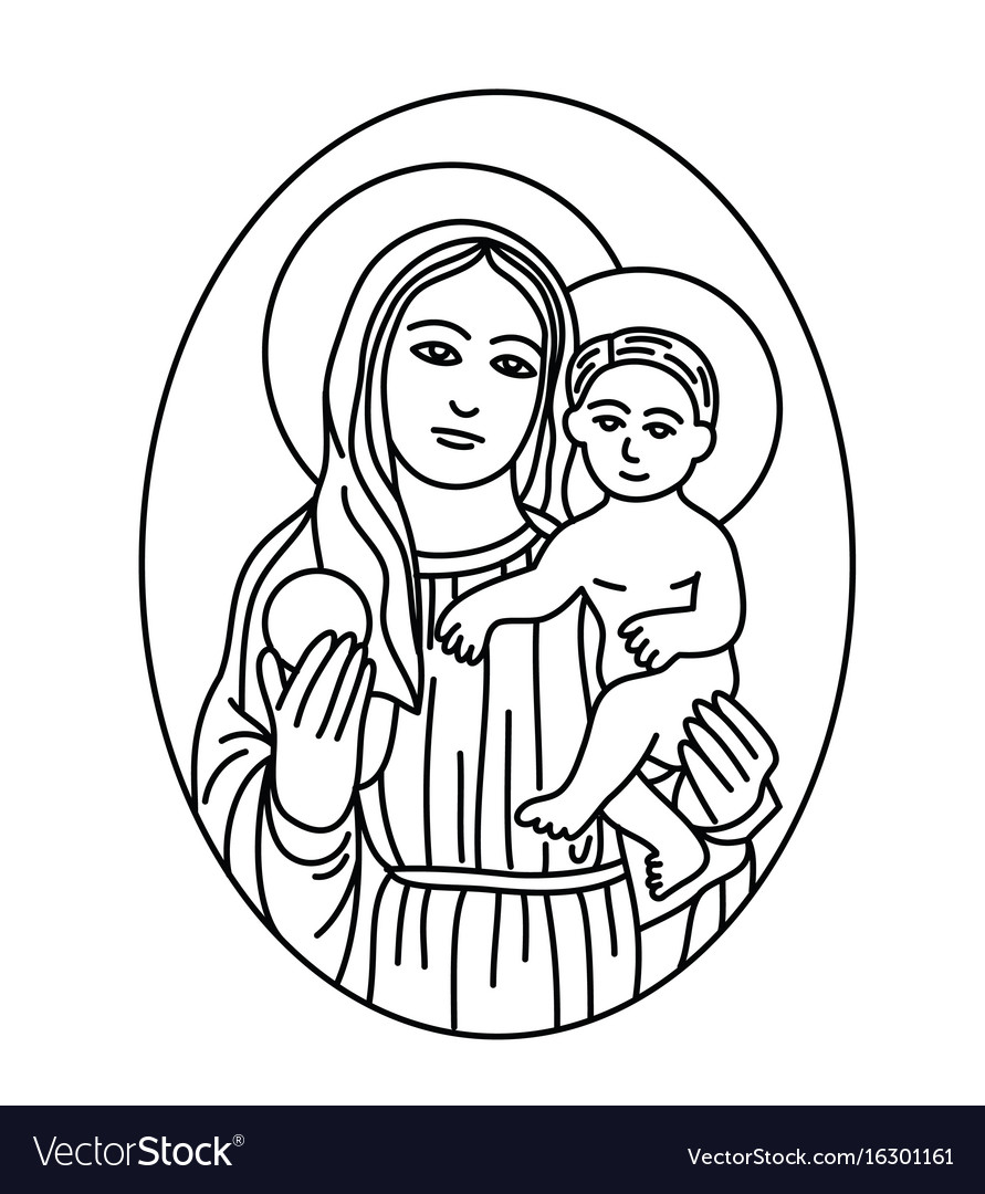 Virgin mary and son sketch line vector image