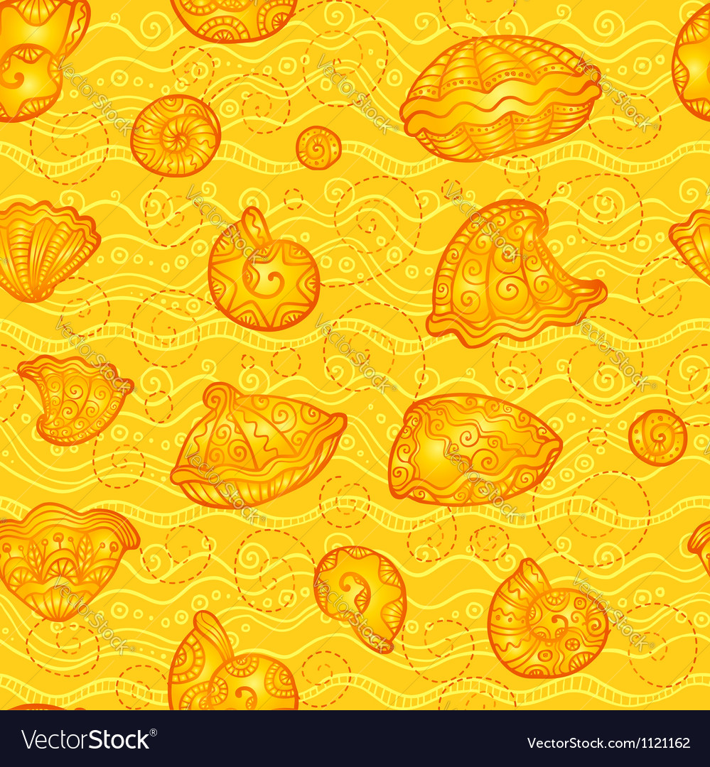 Doodle seashells orange pattern vector image