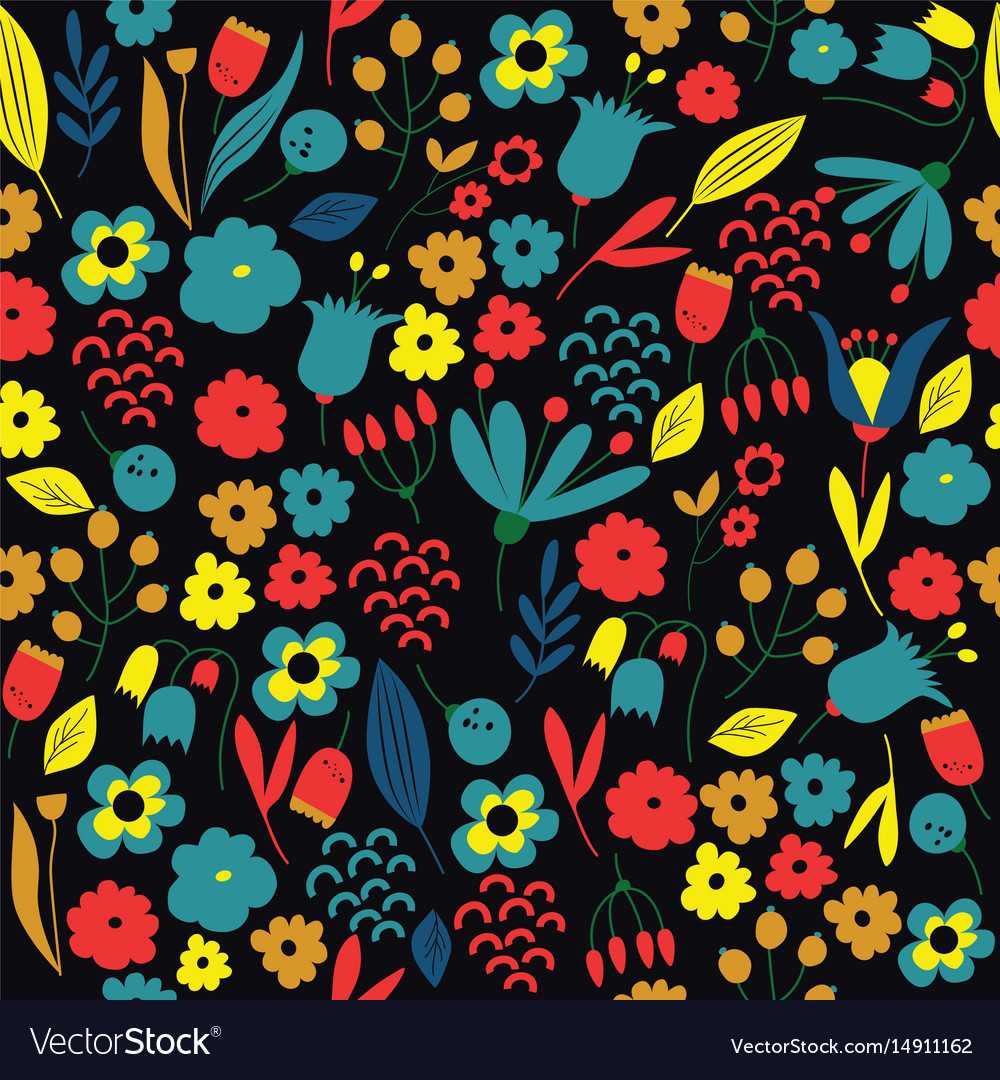 Hand drawn floral pattern colorful vector image