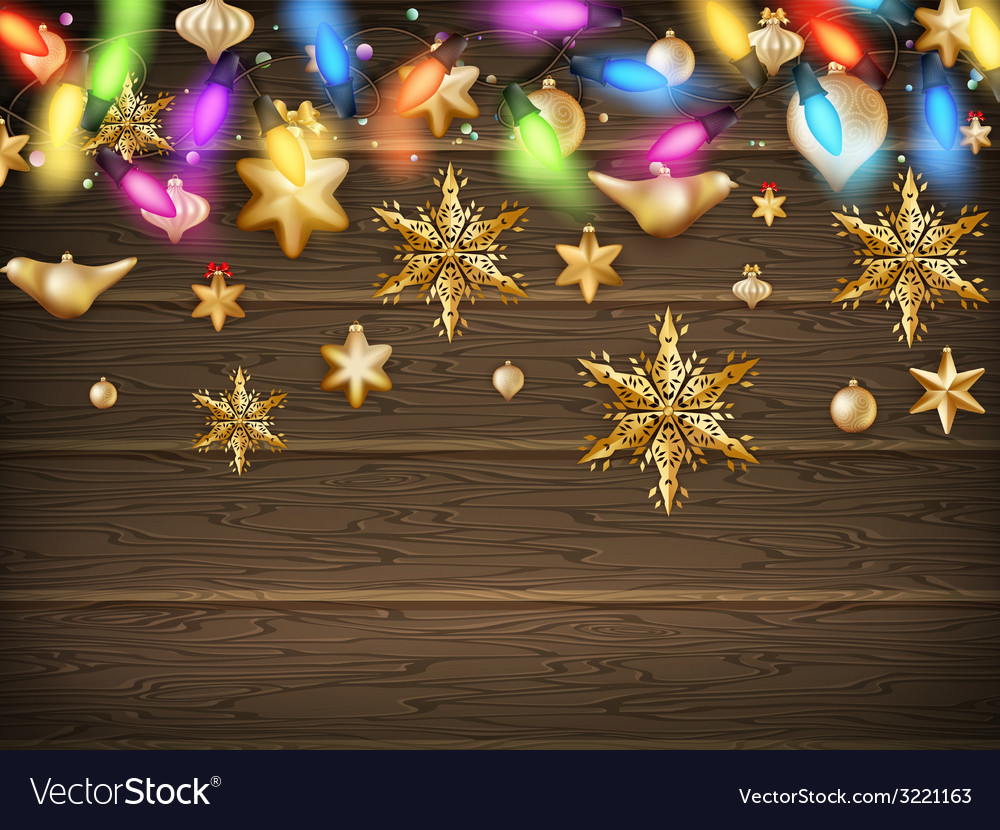 Gold Christmas ornament balls with star EPS 10 vector image