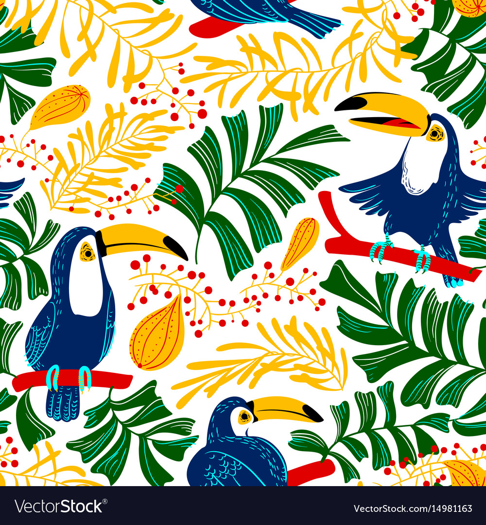 Tropical summer seamless pattern background with vector image