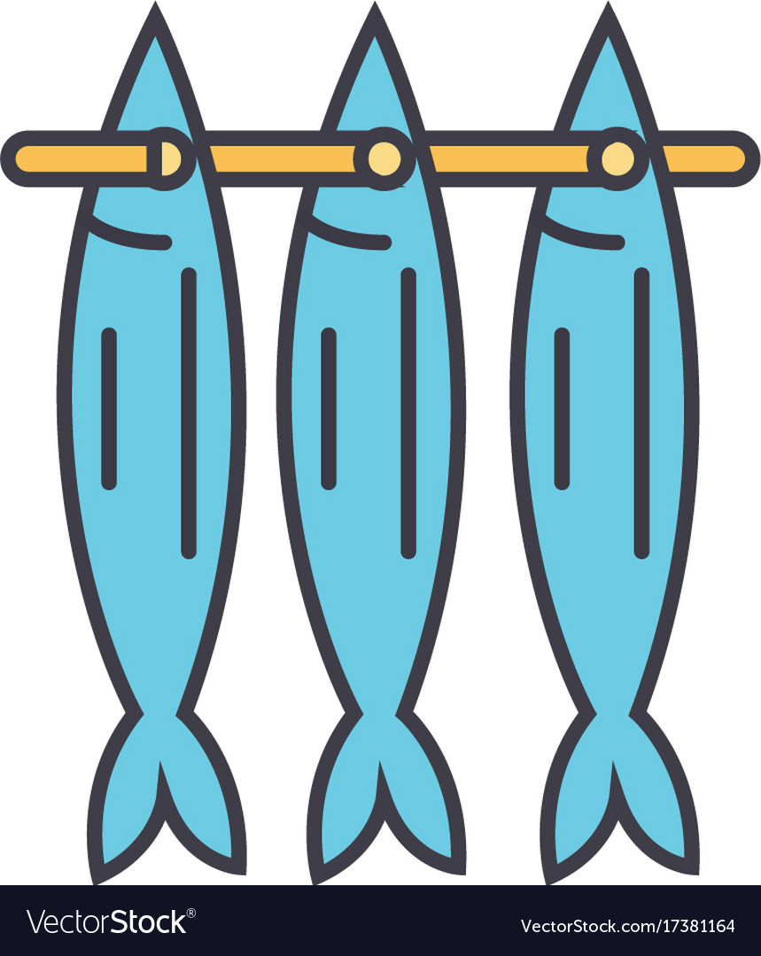 Fish drying flat line concept vector image