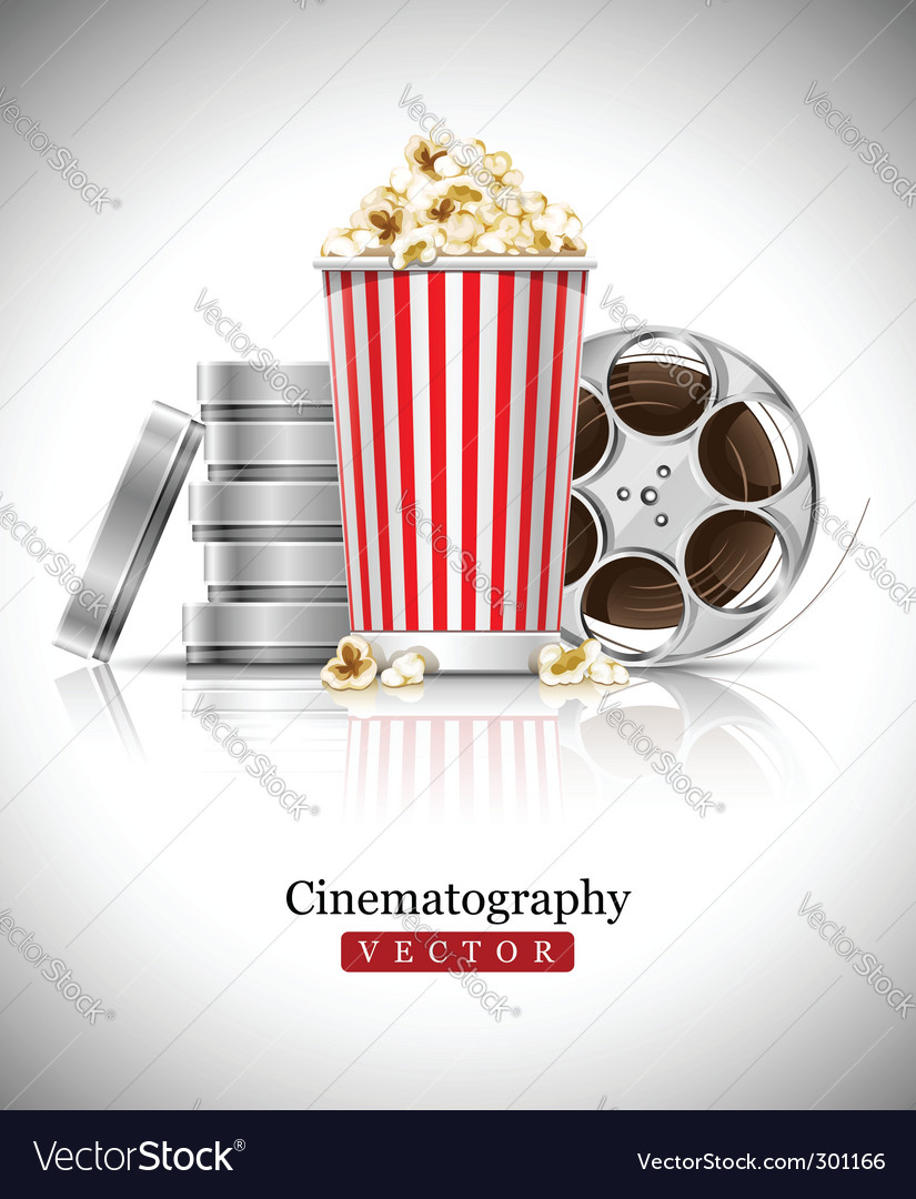 Cinema films and popcorn vector image