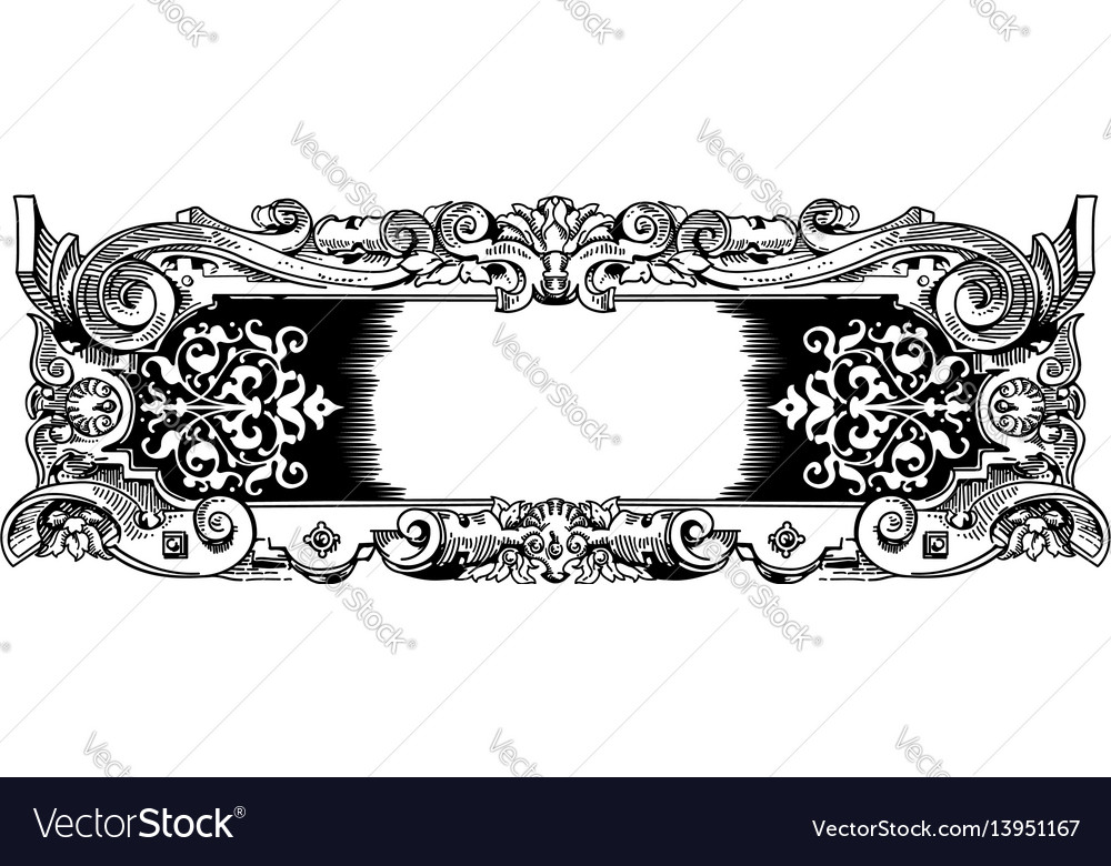 Woodblock style vintage frame vector image