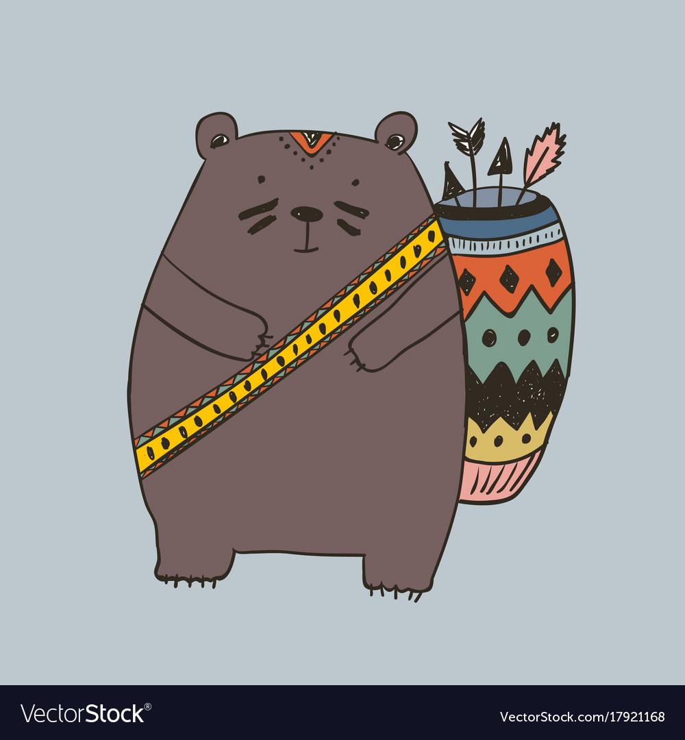 Boho with bear vector image