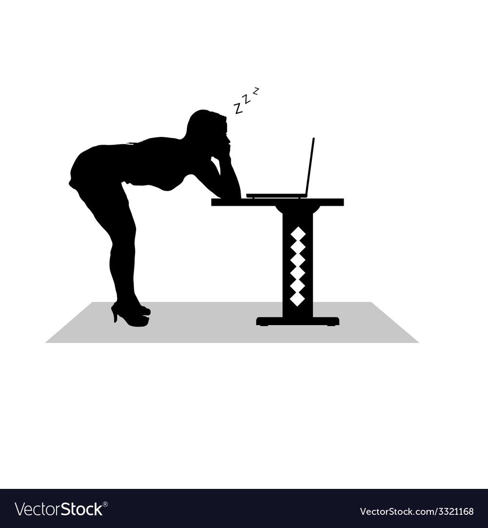 Girl sleep at the computer vector image