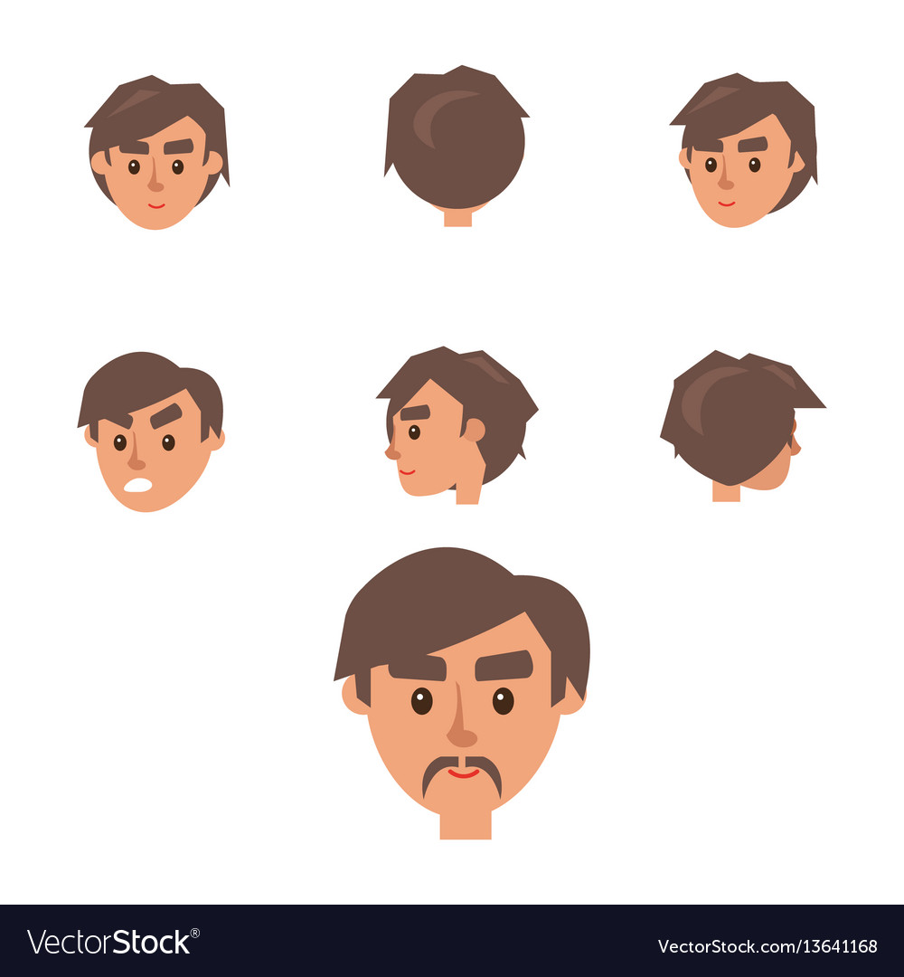 Man constructor seven males heads collection vector image