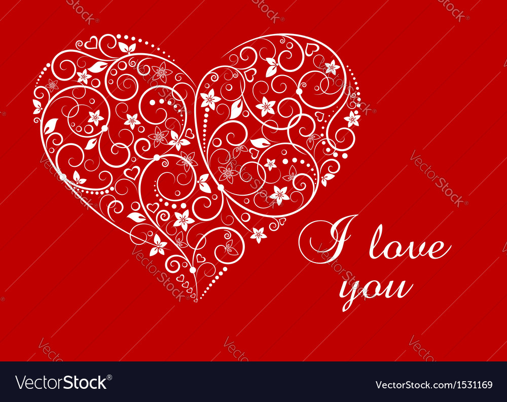 Floral heart for love concept vector image