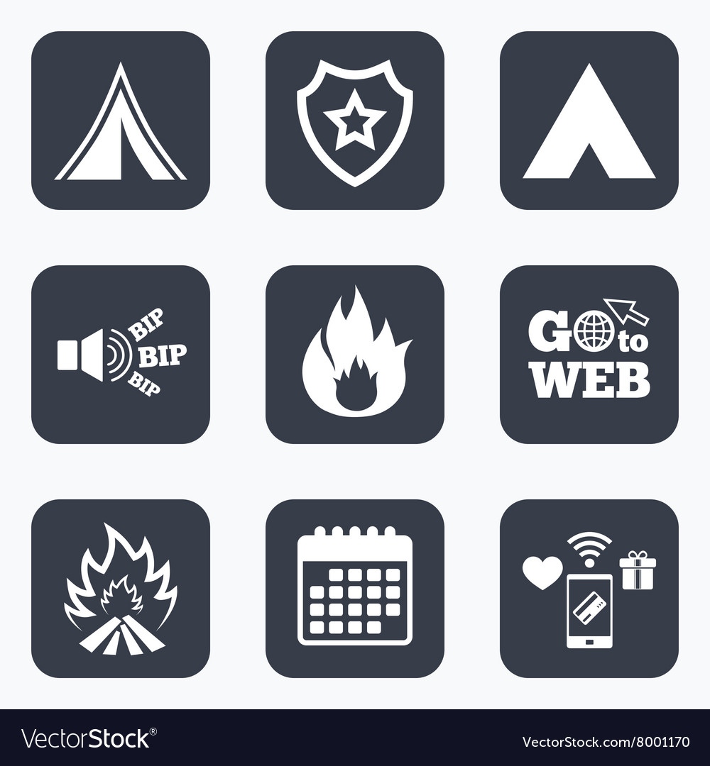 Tourist c&ing tent signs Fire flame icons vector image  sc 1 st  VectorStock & Tourist camping tent signs Fire flame icons Vector Image