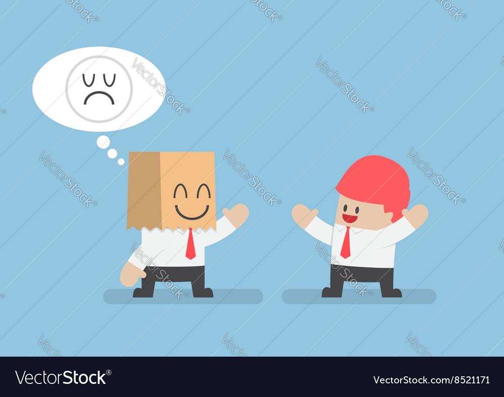 Businessman hide his sad emotions behind a smiling vector image