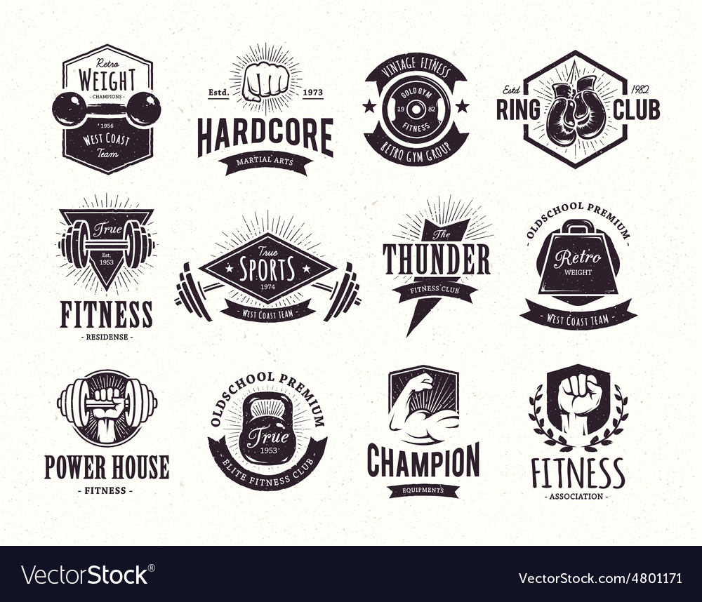 Retro Fitness Emblems vector image
