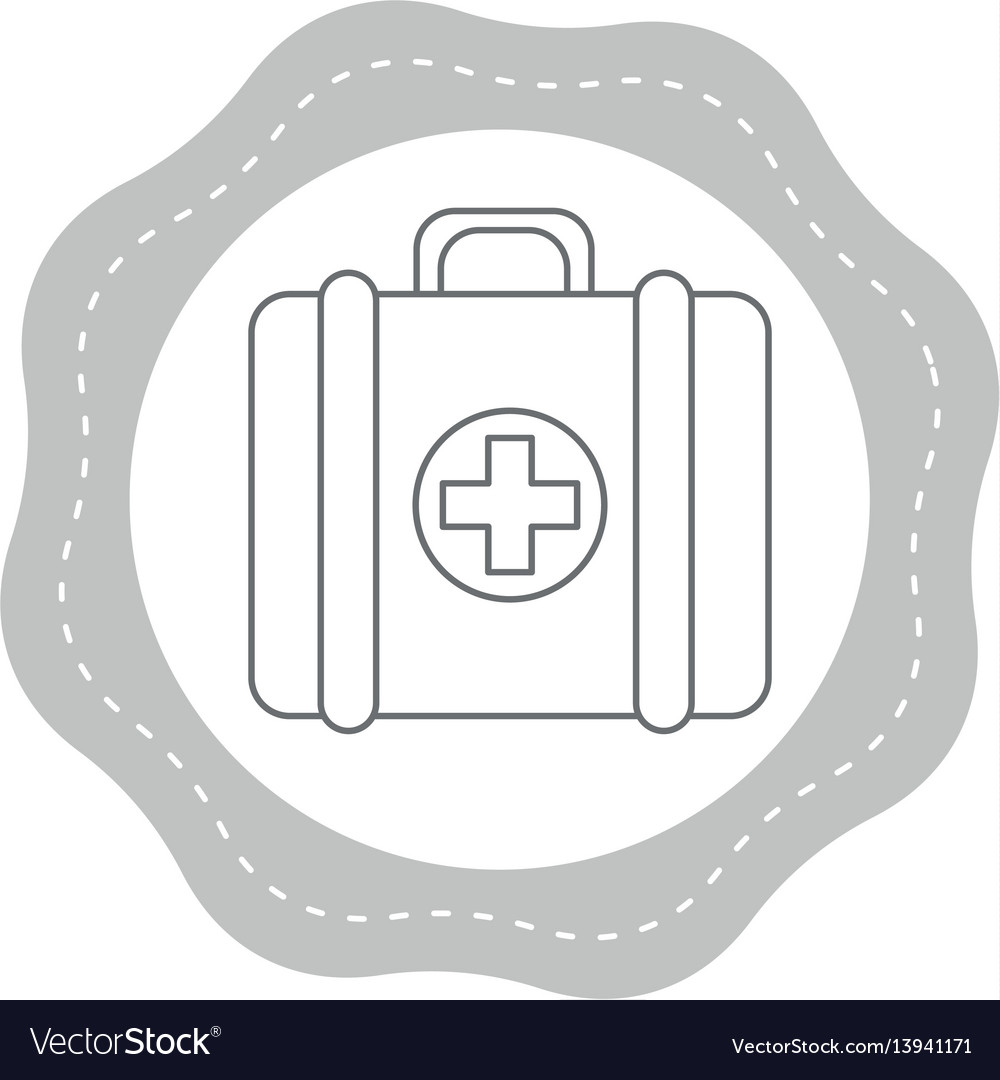 Sticker first aid kit medications tools vector image