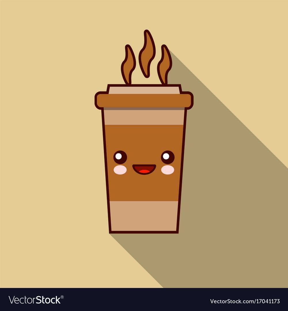 Character cup of coffee kawaii template logo for vector image