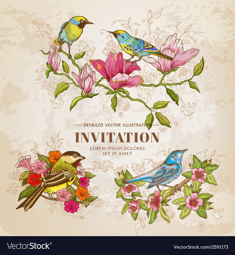 Set of Vintage Flowers and Birds - hand-drawn vector image