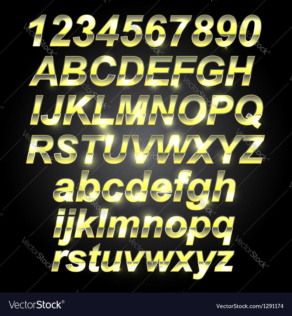 Gold Metal Font Letters vector image