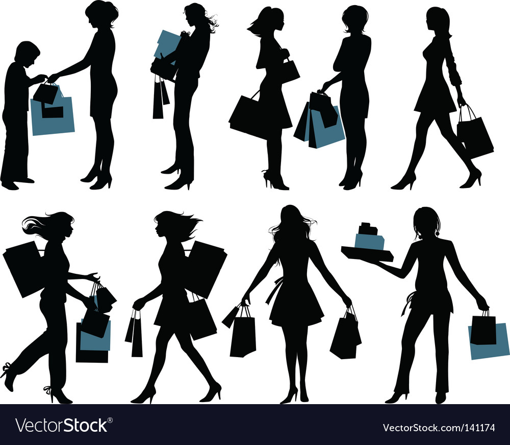 Shopping people vector image
