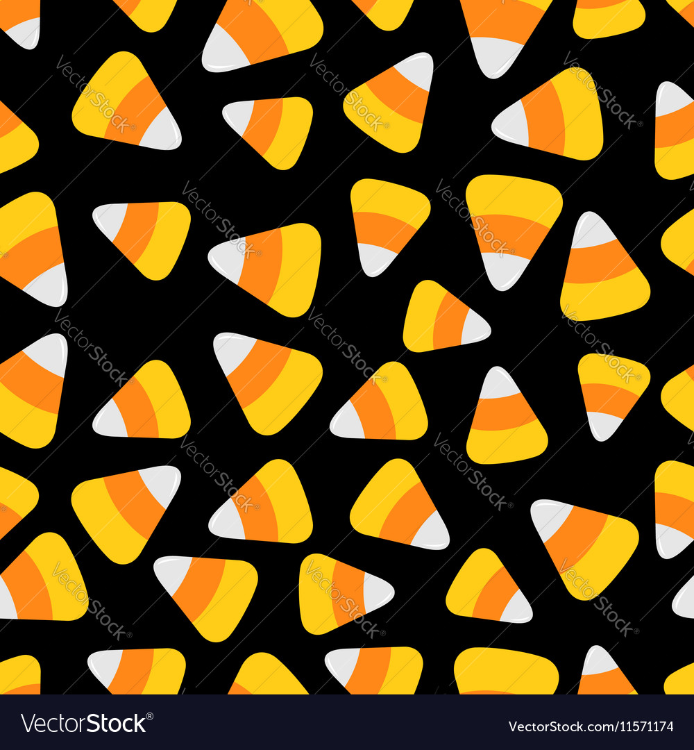 Candy corn Happy Halloween Seamless Pattern Flat vector image