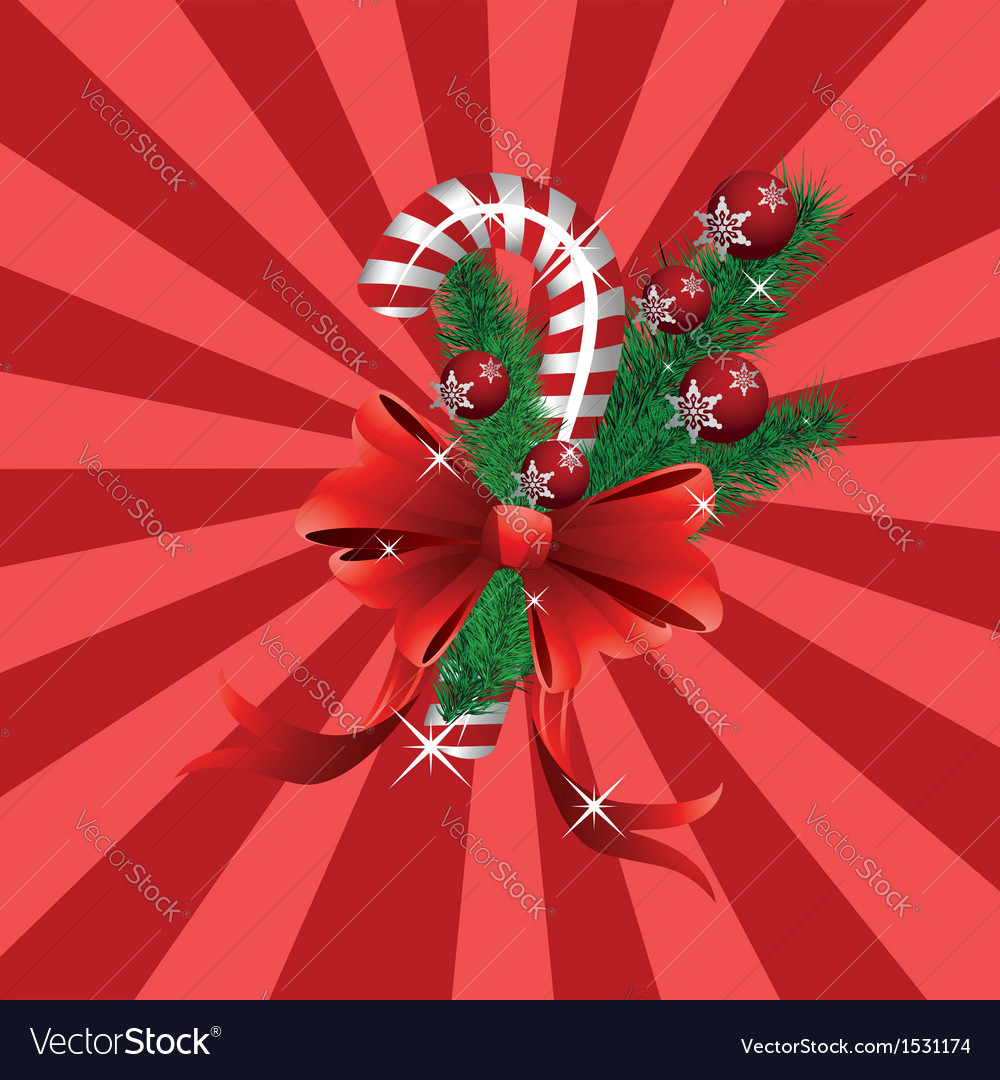 Christmas candy cane red background vector image