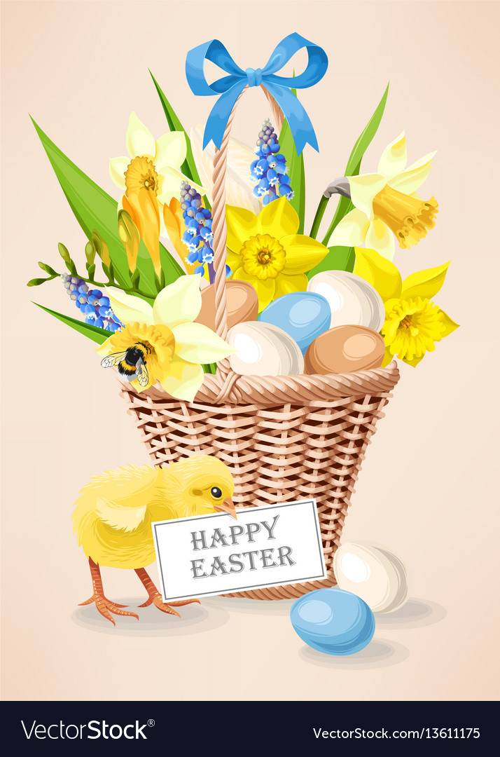 A basket with eggs vector image