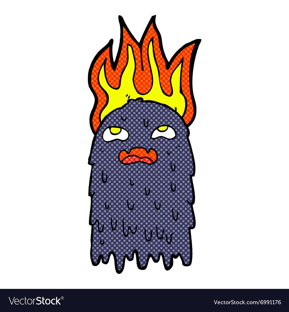 Burning comic cartoon ghost vector image