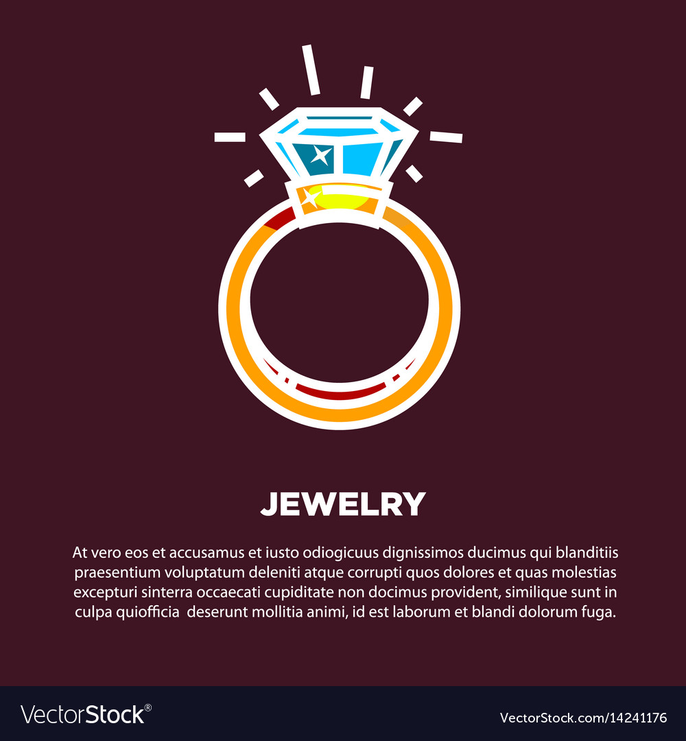 Jewelry golden diamond wedding ring poster vector image