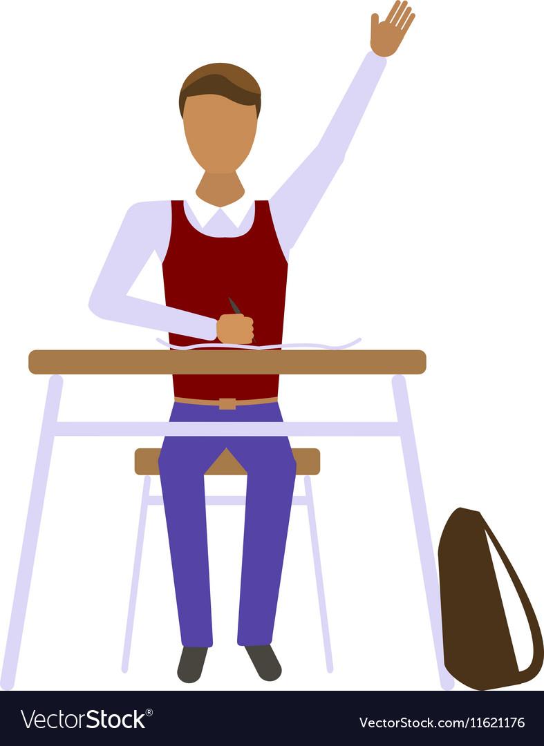 Pupil boy in school vector image