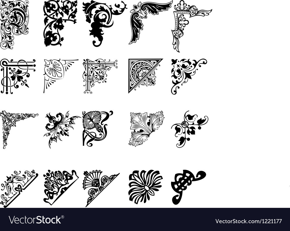 Set Of Twenty One Color Corners Elements Of Design vector image