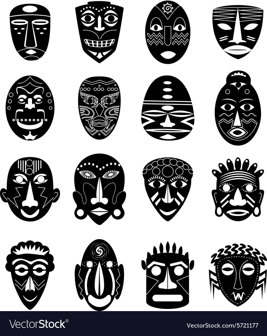 Africa tribal mask icons set Royalty Free Vector Image