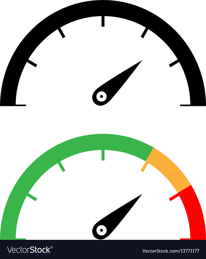 Black and color speedometer icon vector image