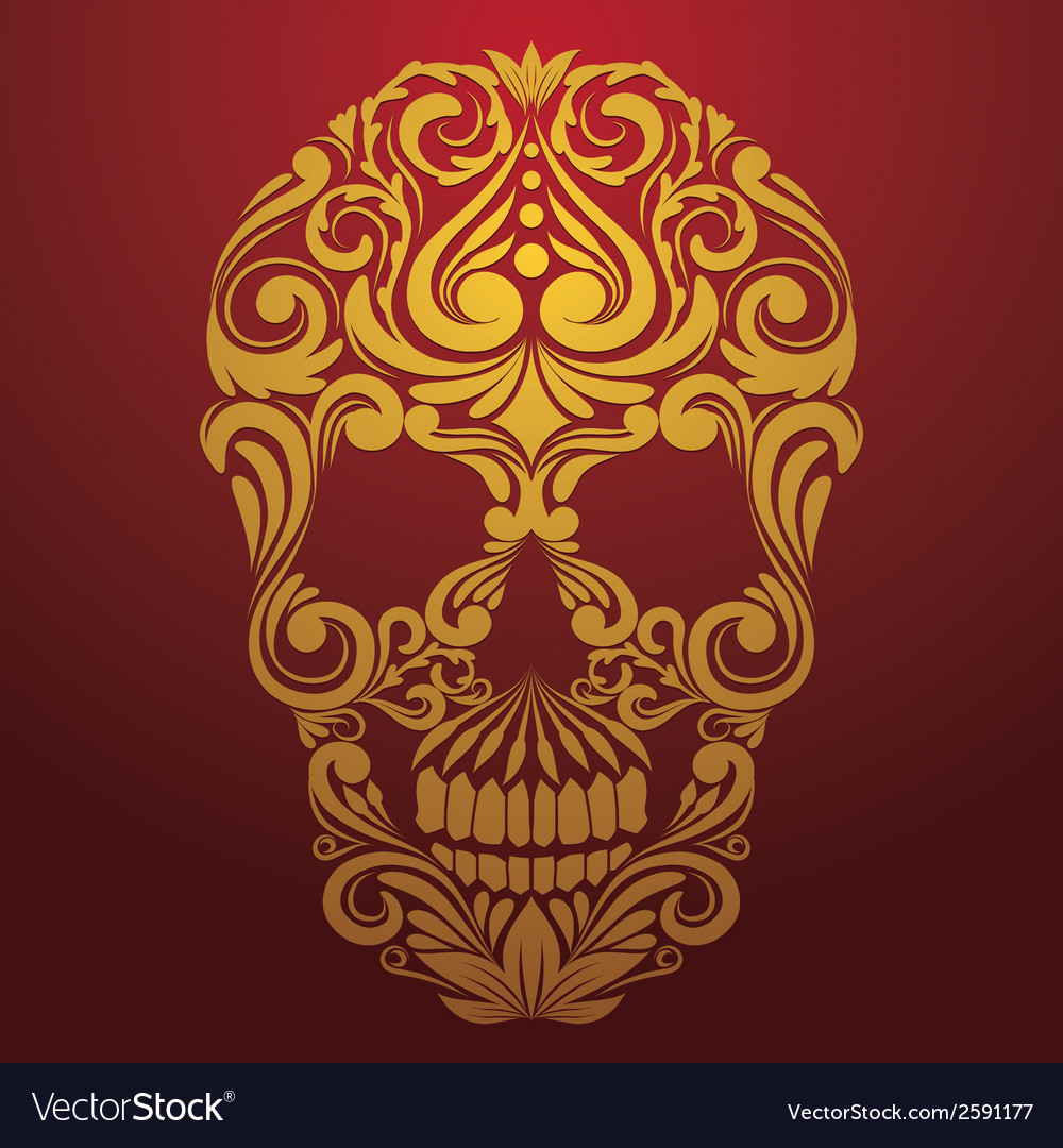 Gold Skull Ornamental vector image
