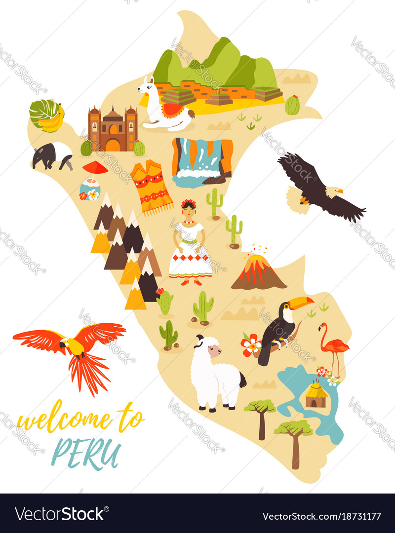 Tourist map of peru with different landmarks vector image tourist map of peru with different landmarks vector image sciox Gallery