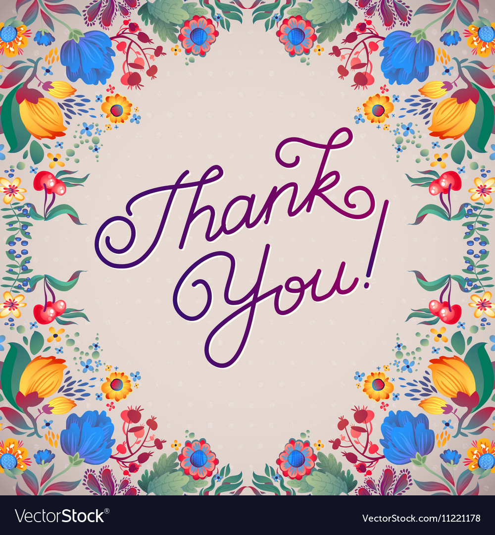 Thank You Abstract Floral Background Callygraphy vector image