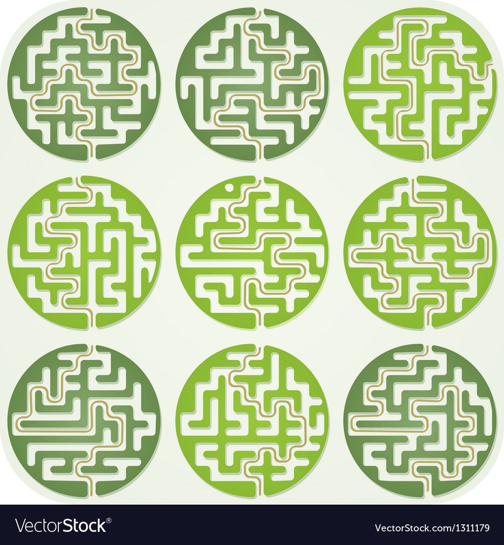 Set of Maze For Kids With Answer vector image