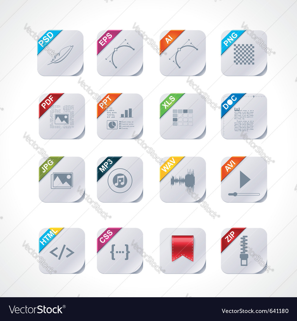 Simple square file labels icon set vector image