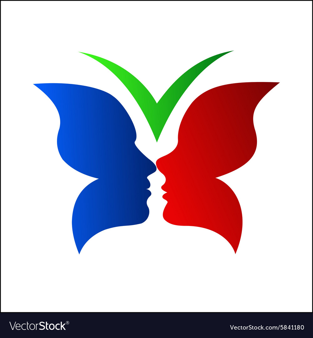 Butterfly with couple silhouette vector image