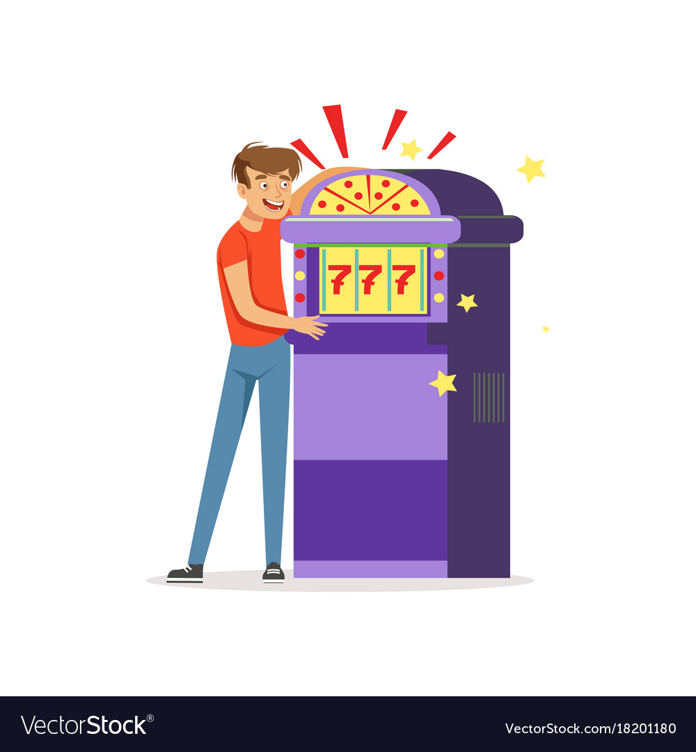 Crazy depressed man gambling at slot machine bad vector image