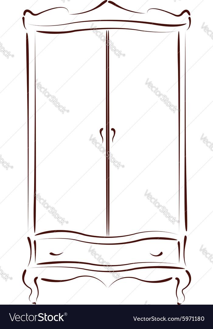 Sketched vintage wardrobe vector image