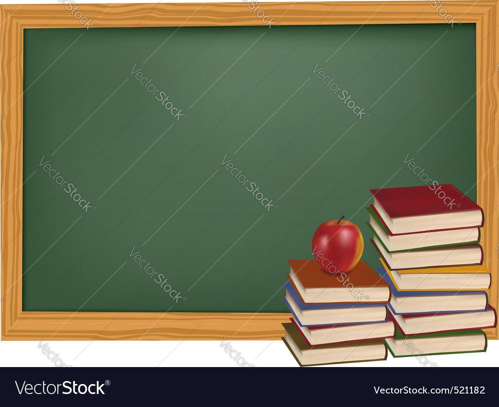 Back to school green desk apple vector image