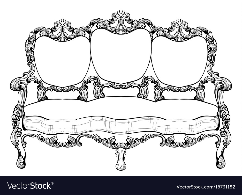 Exquisite Baroque Armchair Set With Luxurious Vector Image