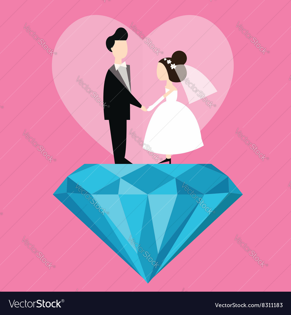 Man woman married wedding bride cartoon with blue vector image