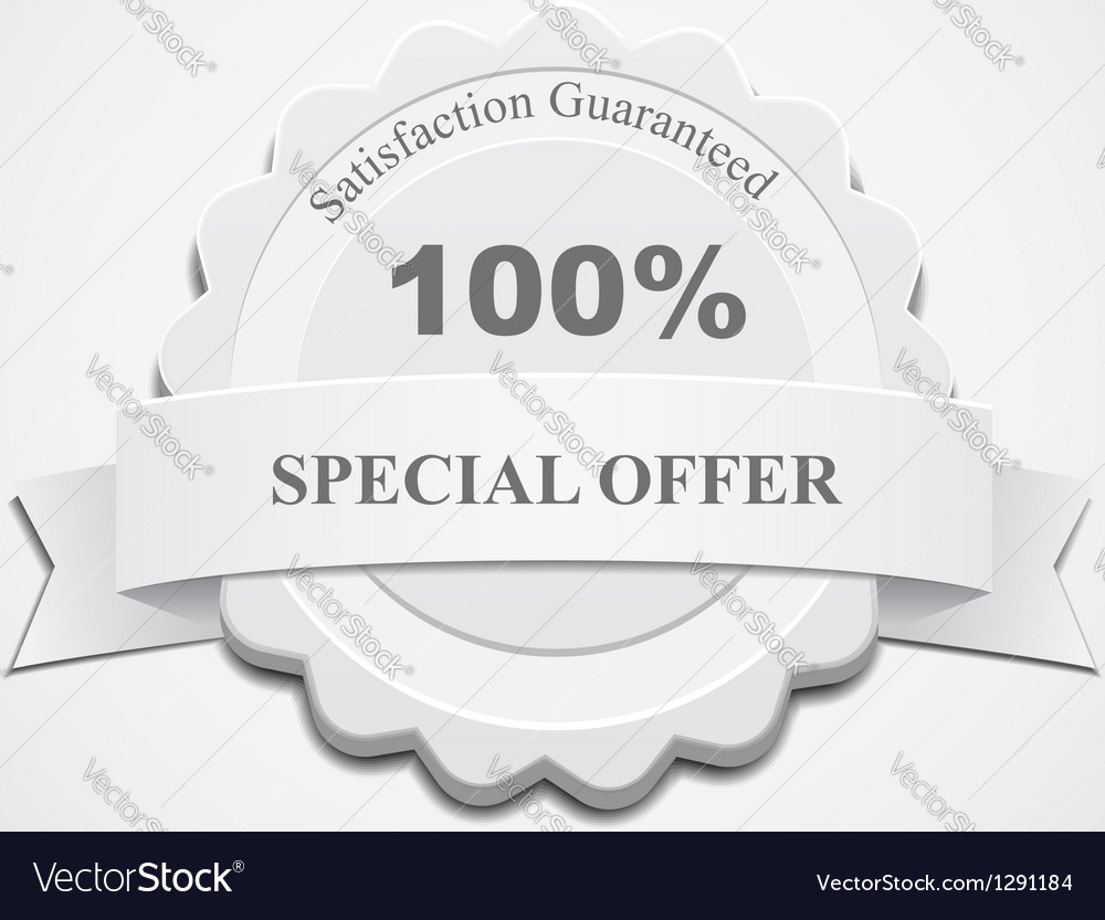 White Guaranteed Label Vector Image