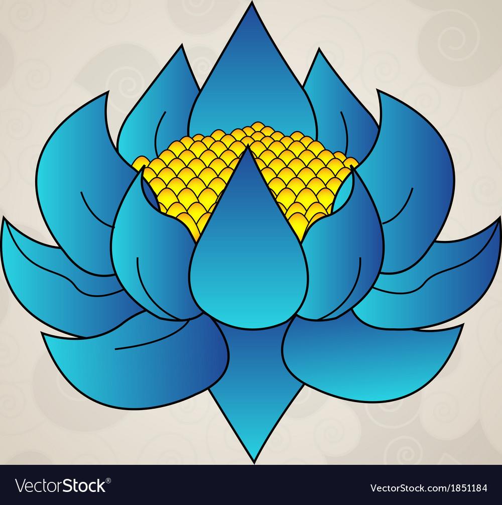 Blue lotus japanese tattoo vector image
