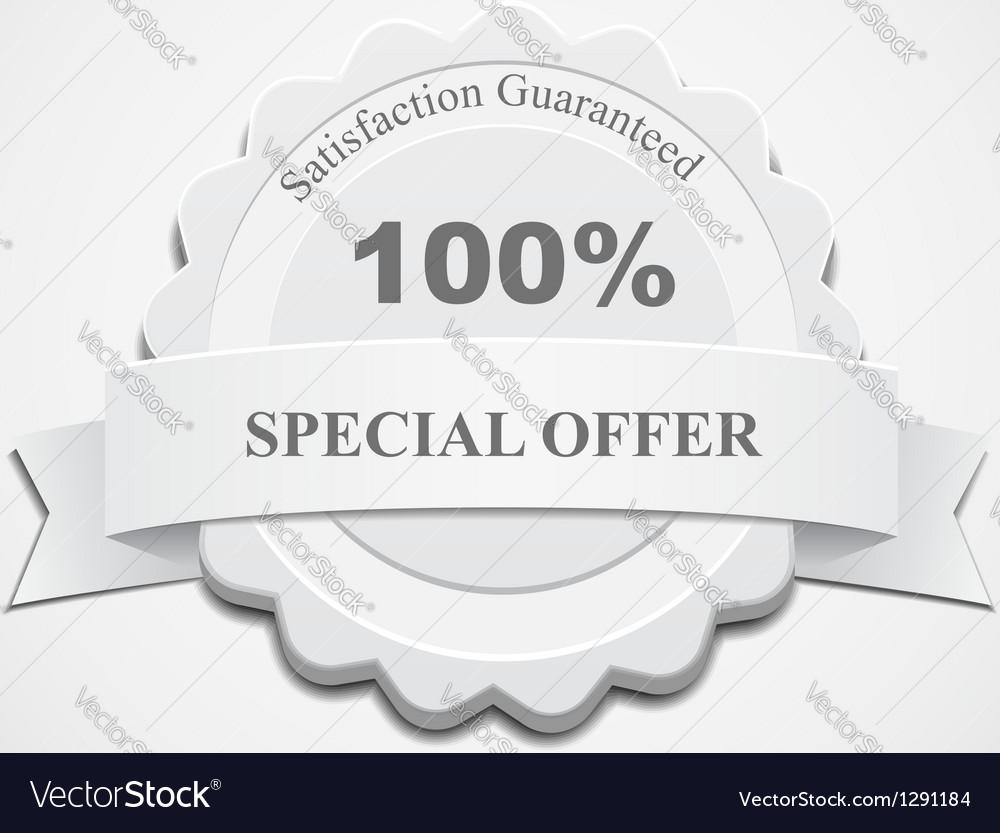 White Guaranteed Label vector image