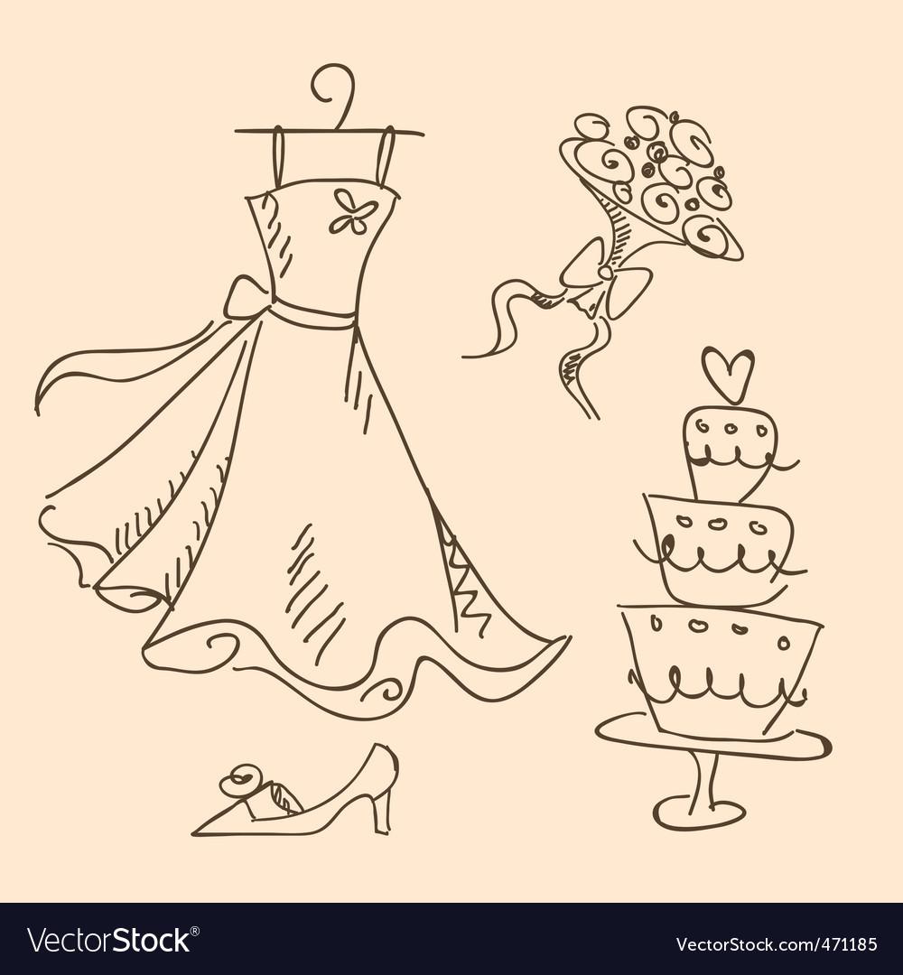 Bride sketch vector image