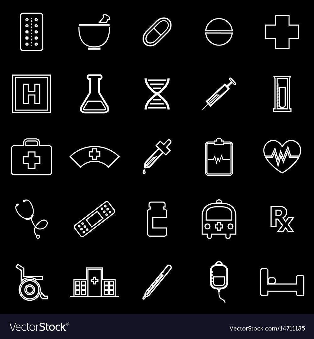 Pharmacy line icons on black background vector image