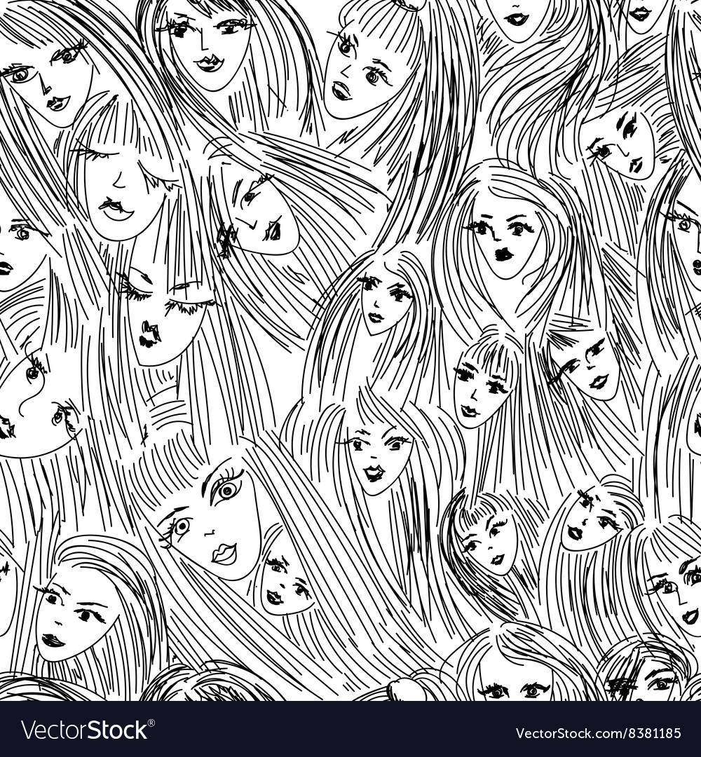 Seamless pattern Girl with straight hair vector image
