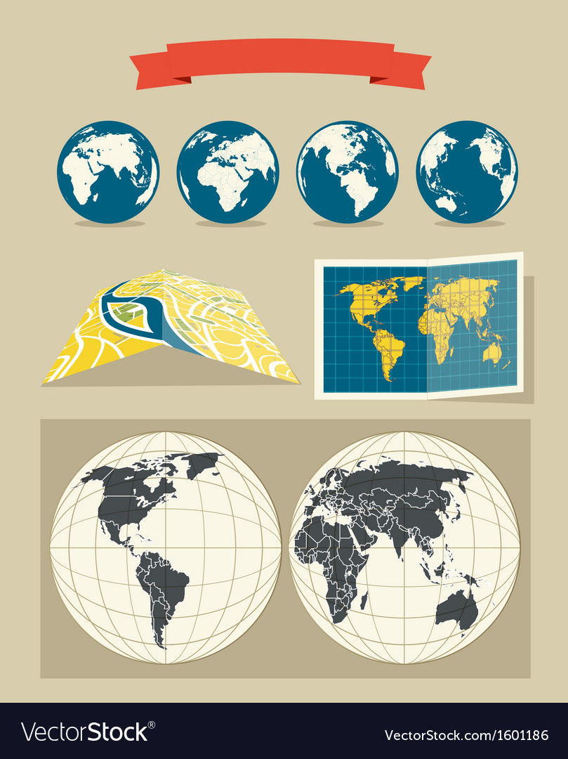 Collection of retro style world and city maps vector image