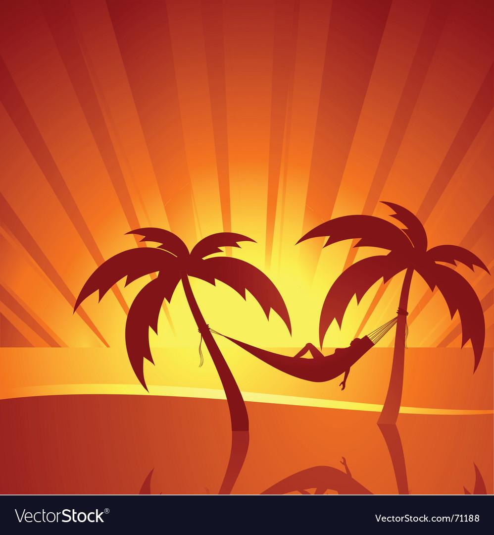 Tropical sunset scene vector image