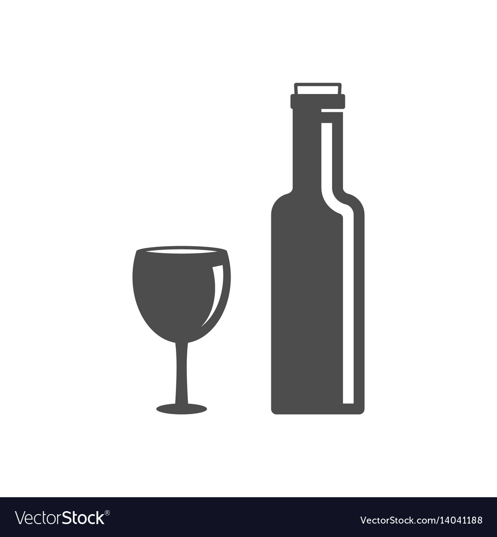 Bottle of wine with cork icon vector image